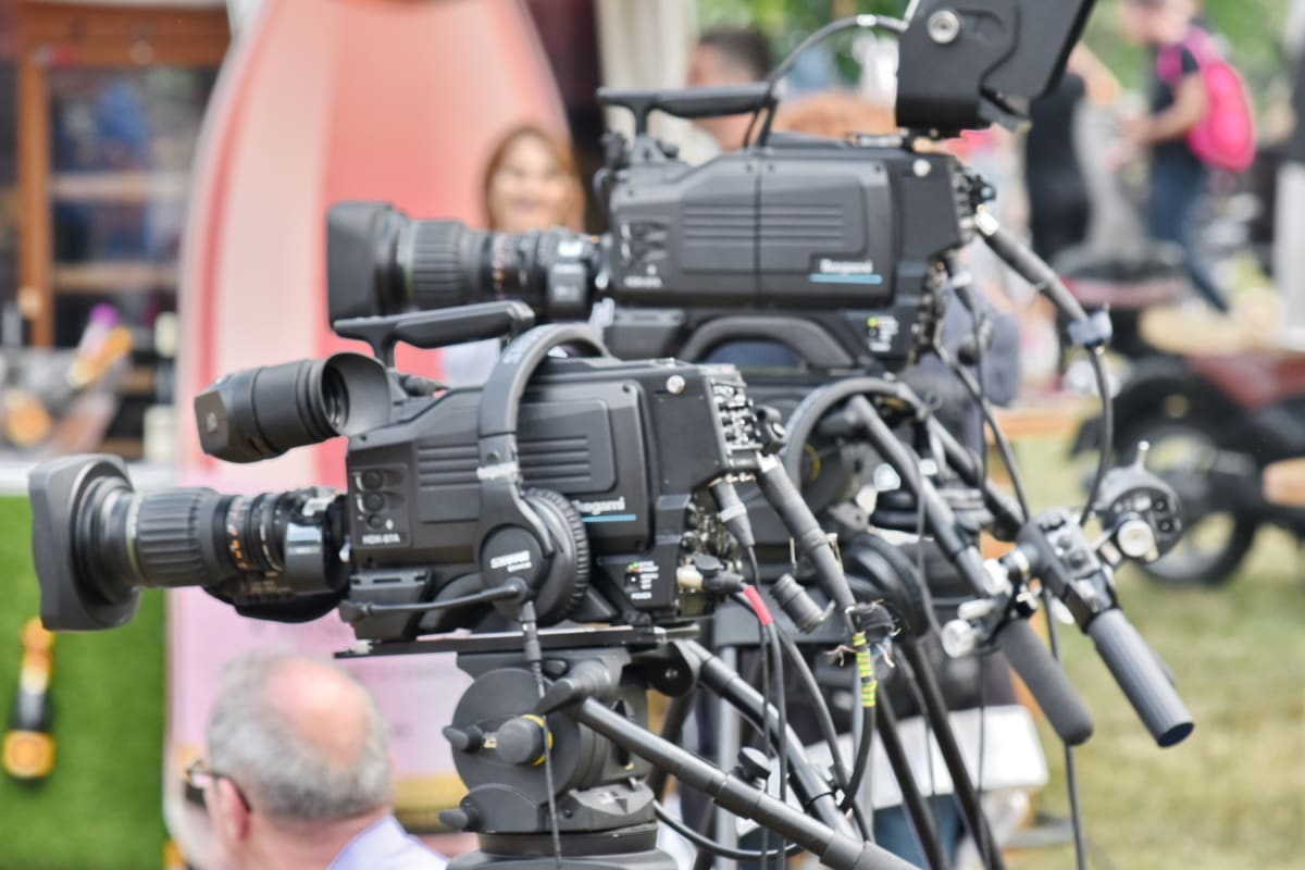 crowd, journalism, video recording, lens, equipment, tripod, camcorder, technology, electronics, movie