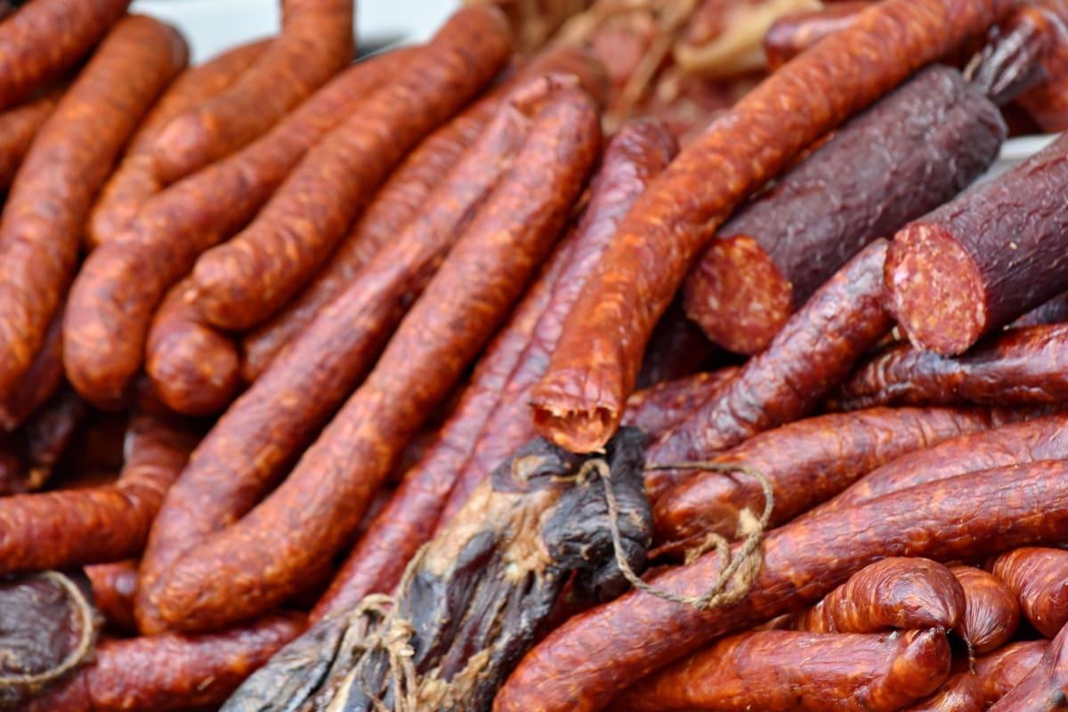 bratwurst, sausage, food, meat, pork, delicious, many, market, upclose, ingredients