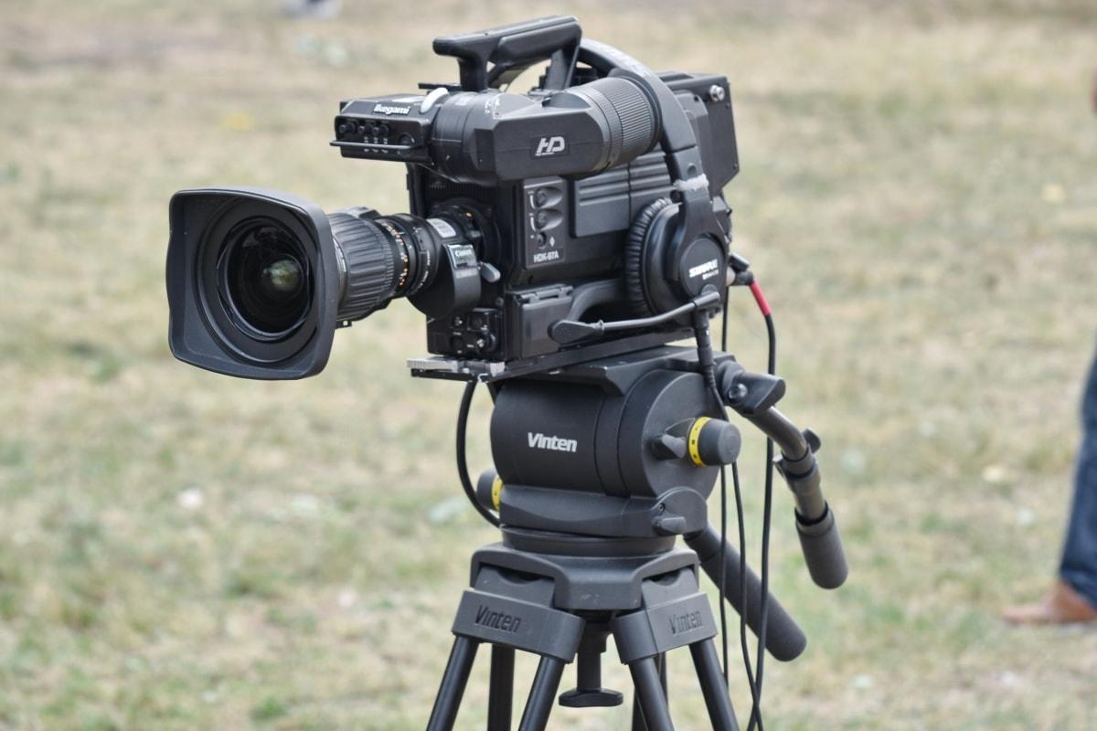 focus, lens, movie, video recording, equipment, camera, tripod, electronics, capture, technology