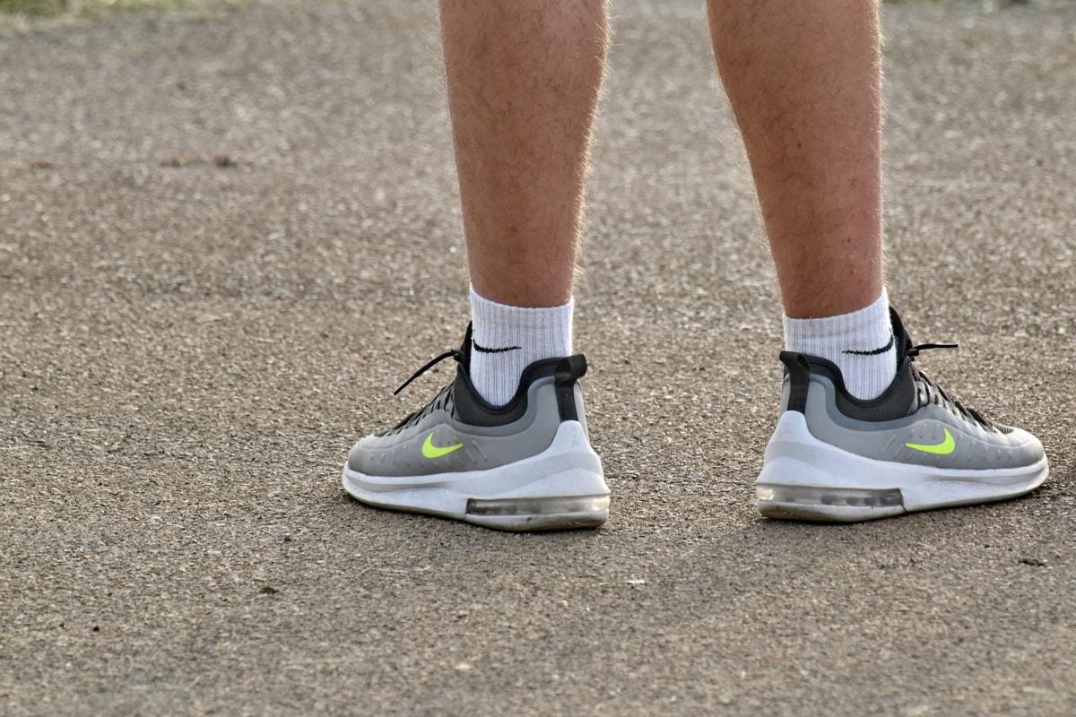 asfalt, fötter, skor, Ben, Skosnöre, sneakers, Strumpor, idrott, foten, Fitness