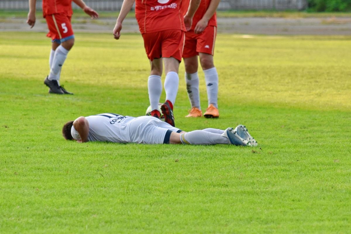 fotbalista, zranění, fyzická aktivita, tým, tráva, hráč, konkurence, hra, sportovec, Sportovní