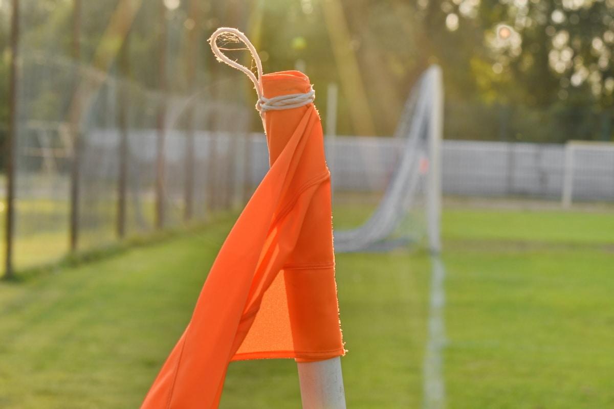 esquina, Fútbol, amarillo anaranjado, rayos de sol, sol, césped, curso, deporte, Bandera, al aire libre