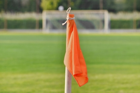 corner, detail, fair weather, field, football, stick, flag, grass, outdoors, soccer