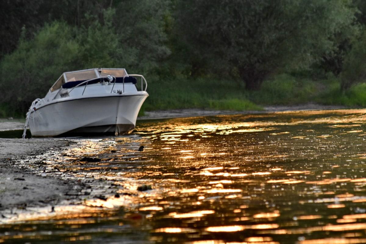 odbicie, Brzeg rzeki, zachód słońca, jacht, Łódź, Jezioro, wody, Rzeka, Natura, jednostki pływające