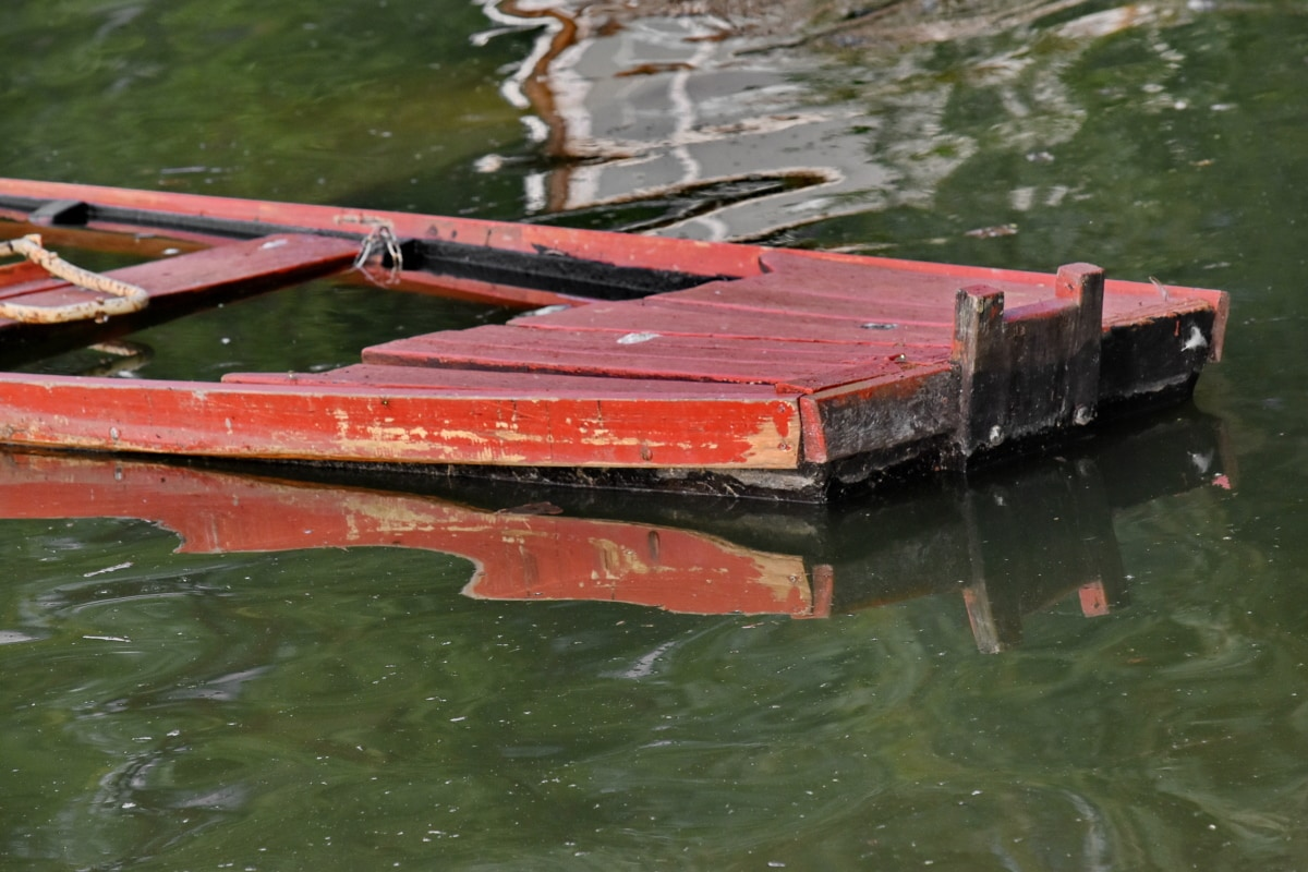 boat, underwater, wooden, wreckage, water, river, watercraft, canal, nature, lake