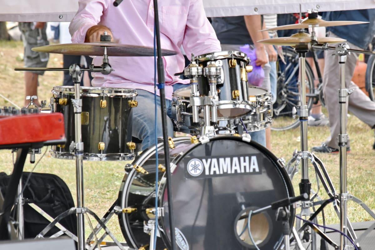 trumpinne, festival, musiker, musik, trumma, prestanda, band, konsert, utrustning, personer