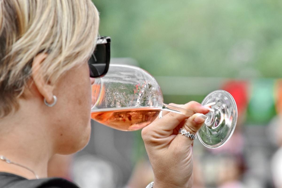 Champagne, boisson, Jolie fille, femme, à l'extérieur, vin, nature, été, joli, jeune