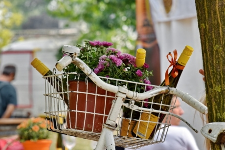 bicycle, decoration, flowerpot, gifts, red wine, still life, basket, outdoors, shopping, people
