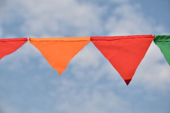 clothesline, colorful, cotton, triangle, wind, flag, blue sky, hanging, summer, outdoors