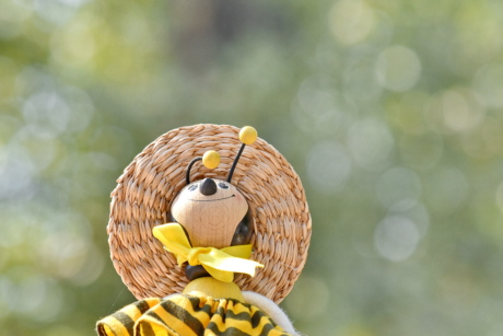 handmade, hat, homemade, honeybee, object, sunny, toy, blur, bright, cute