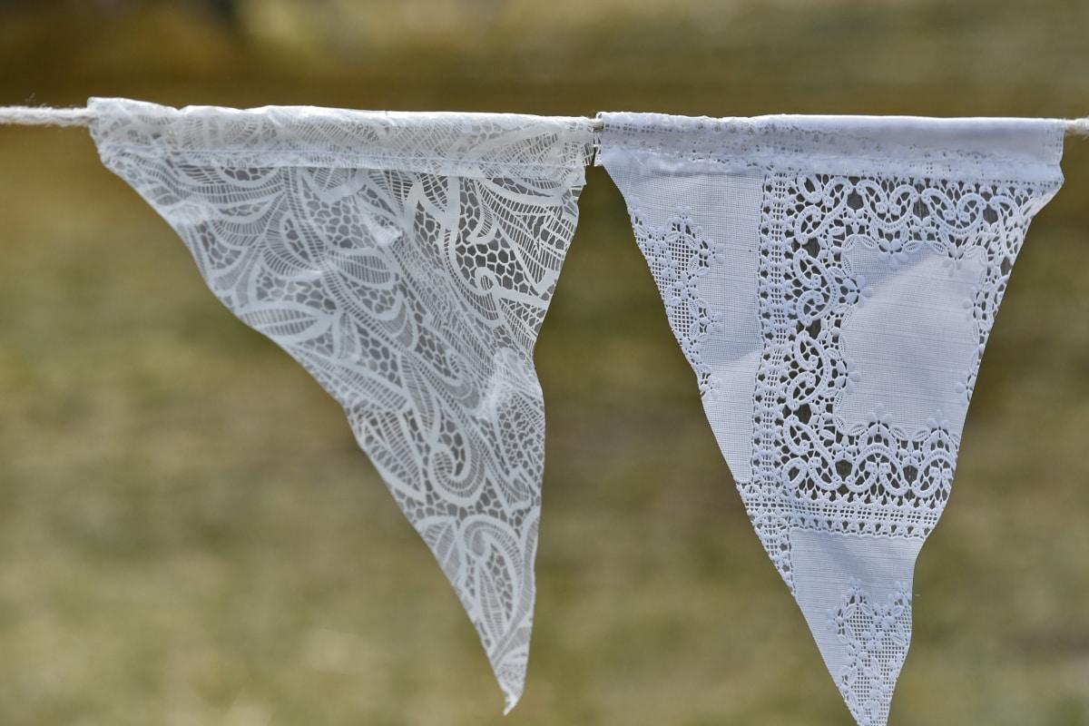 dekorativa, hängande, hemlagad, rep, triangel, näsduk, eleganta, sommar, Utomhus, romantiska