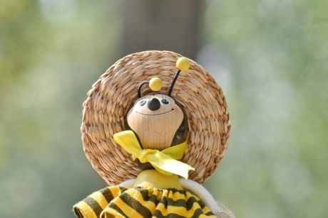 funny, handmade, hat, honeybee, object, toy, wooden, yellowish, blur, cute
