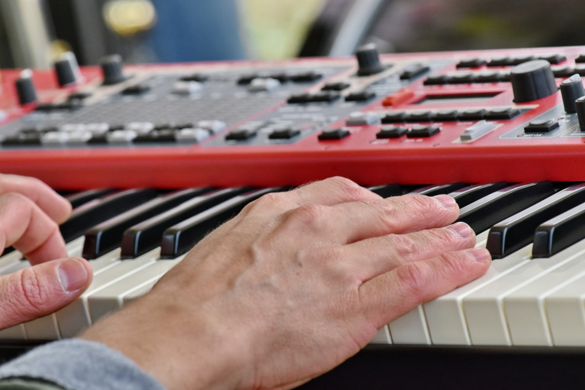 musik, spela, synthesizer, akustiska, ärm, ljud, knappen, konsert, enhet, utrustning