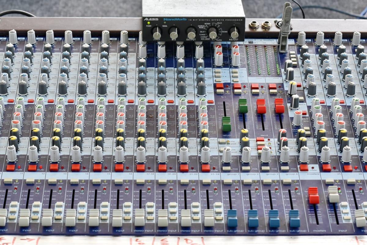 สเตอริโอ, แอมพลิฟายเออร์, สลับ, ความเข้ม, เสียง, เสียง, เครื่องผสม, อนาล็อก, อุปกรณ์, อิเล็กทรอนิกส์