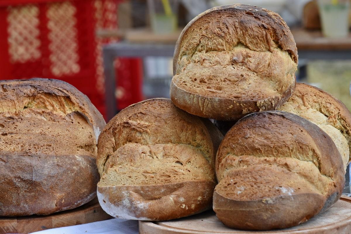 caseiro, bens cozidos, de cozimento, cevada, pão, pequeno-almoço, marrom, calorias, cereais, crosta
