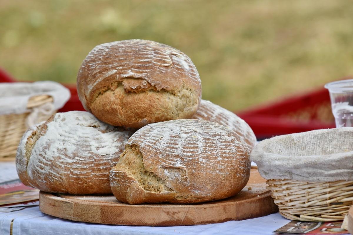 구워진된 상품, 빵, 피크닉, 고리 버들 세공 바구니, 밀, 음식, 밀가루, 아침 식사, 전통적인, 건강