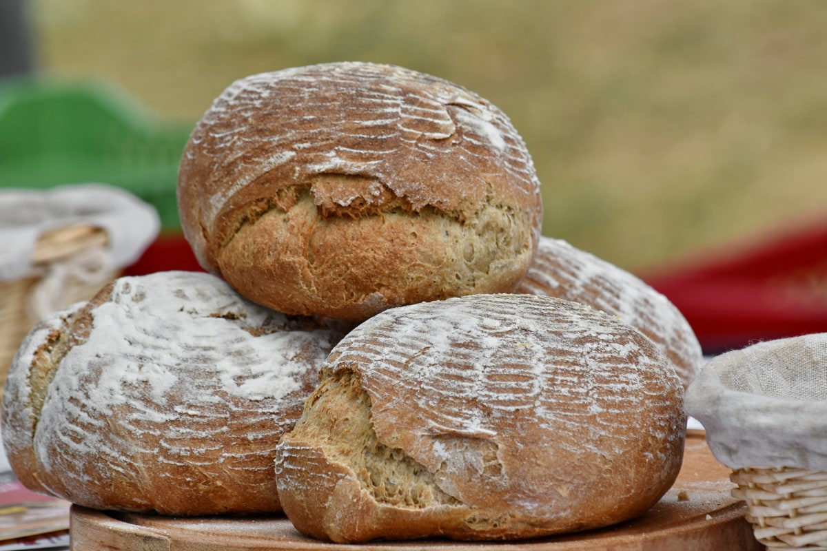 bakervarer, bakepulver, brød, frokost, piknik, flettet kurv, mat, hvete, mel, tradisjonelle