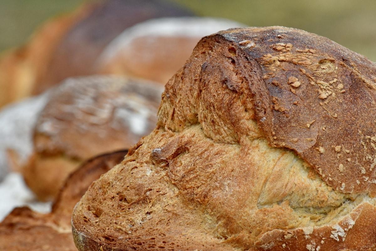 pão, pequeno-almoço, fresco, caseiro, trigo, bens cozidos, comida, farinha, de cozimento, centeio