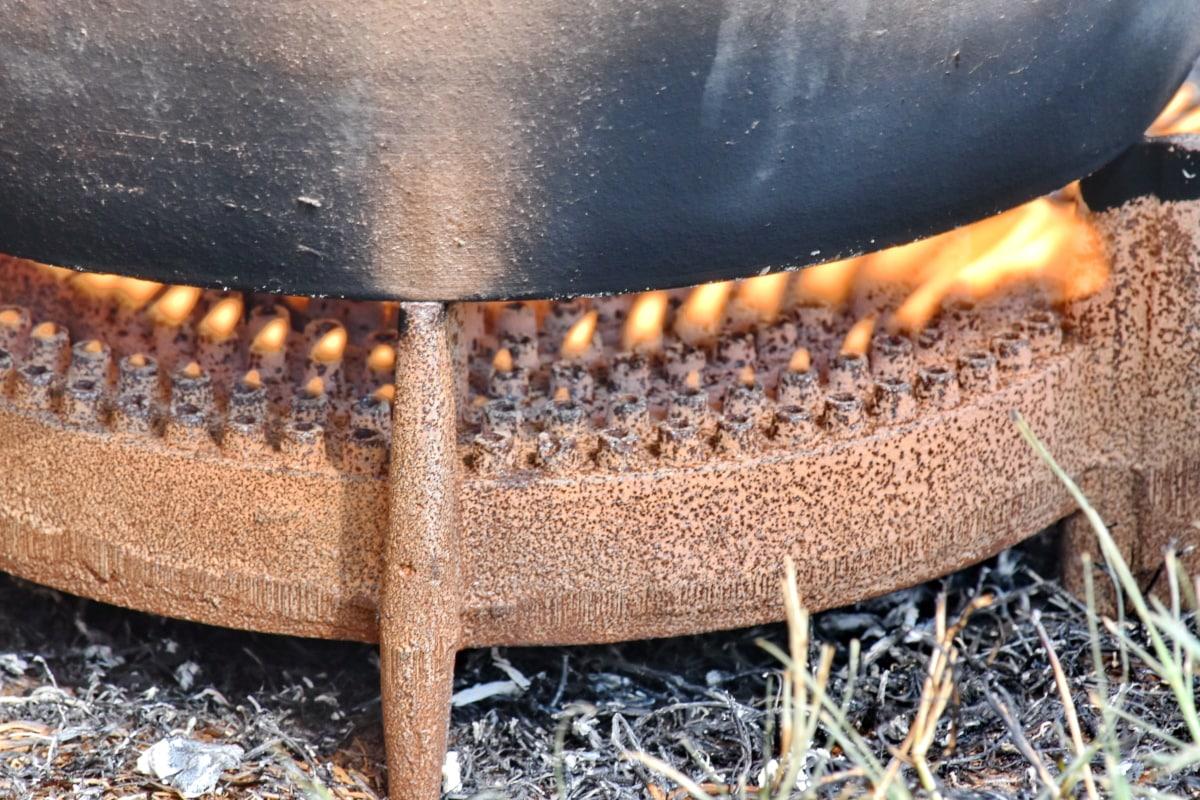 flamme, cuisinière à gaz, en plein air, cuisine, fermer, fumée, en acier, sale, chaud, Retro