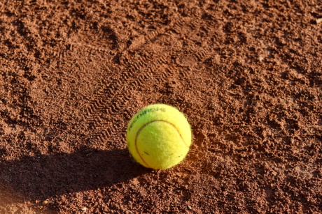 ball, dirt, ground, shadow, tennis, tennis court, equipment, soil, competition, game
