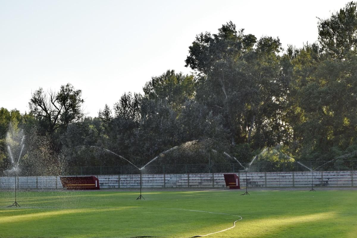 Fútbol, césped, riego, temporada de verano, campo, deporte, árbol, paisaje, césped, Parque