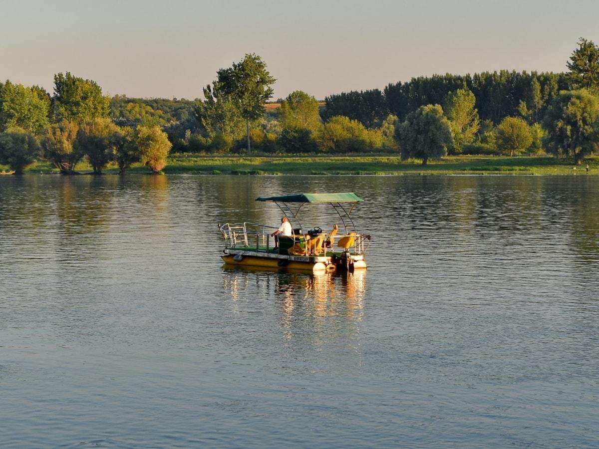 enjoyment, lifestyle, man, summer season, watercraft, river, water, reflection, nature, landscape