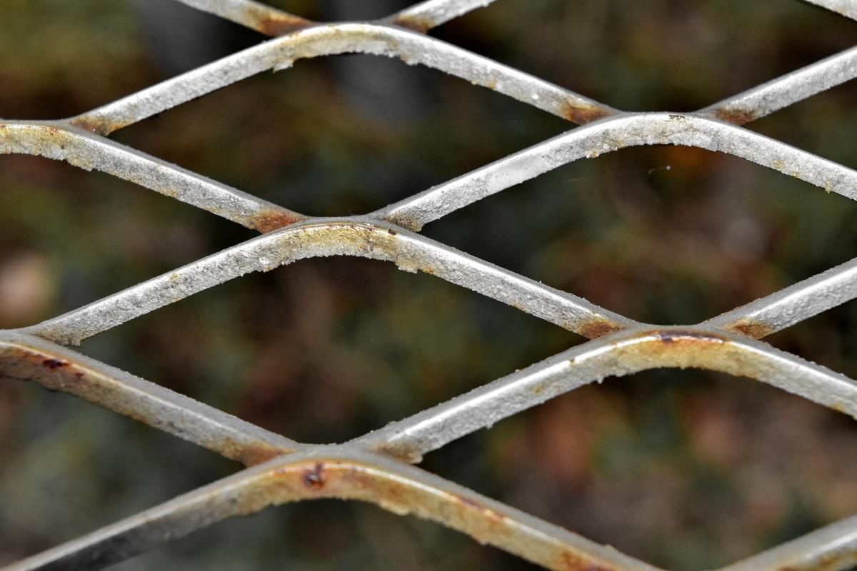 fer de fonte, clôture, fer, en acier, à l'extérieur, métalliques, vieux, secteur d'activité, rouille, fil