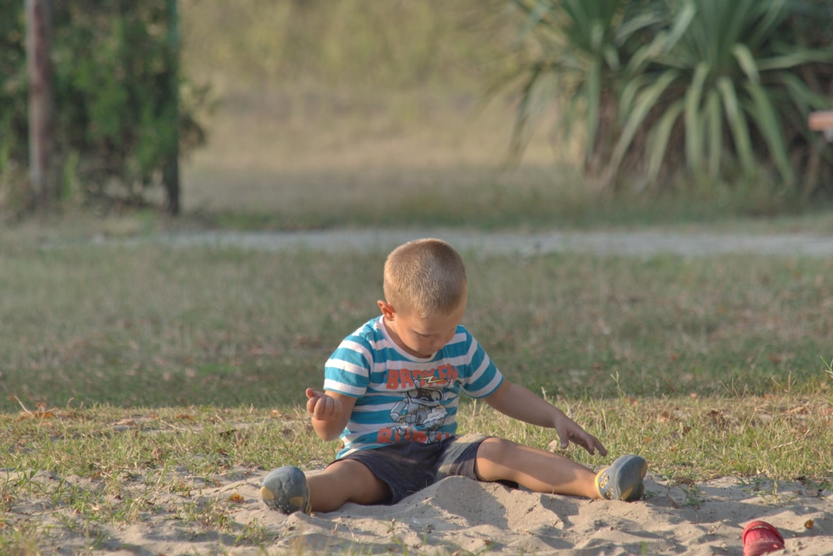 Pojke, Lekplats, sand, barn, gräs, kul, Utomhus, naturen, sommar, rekreation
