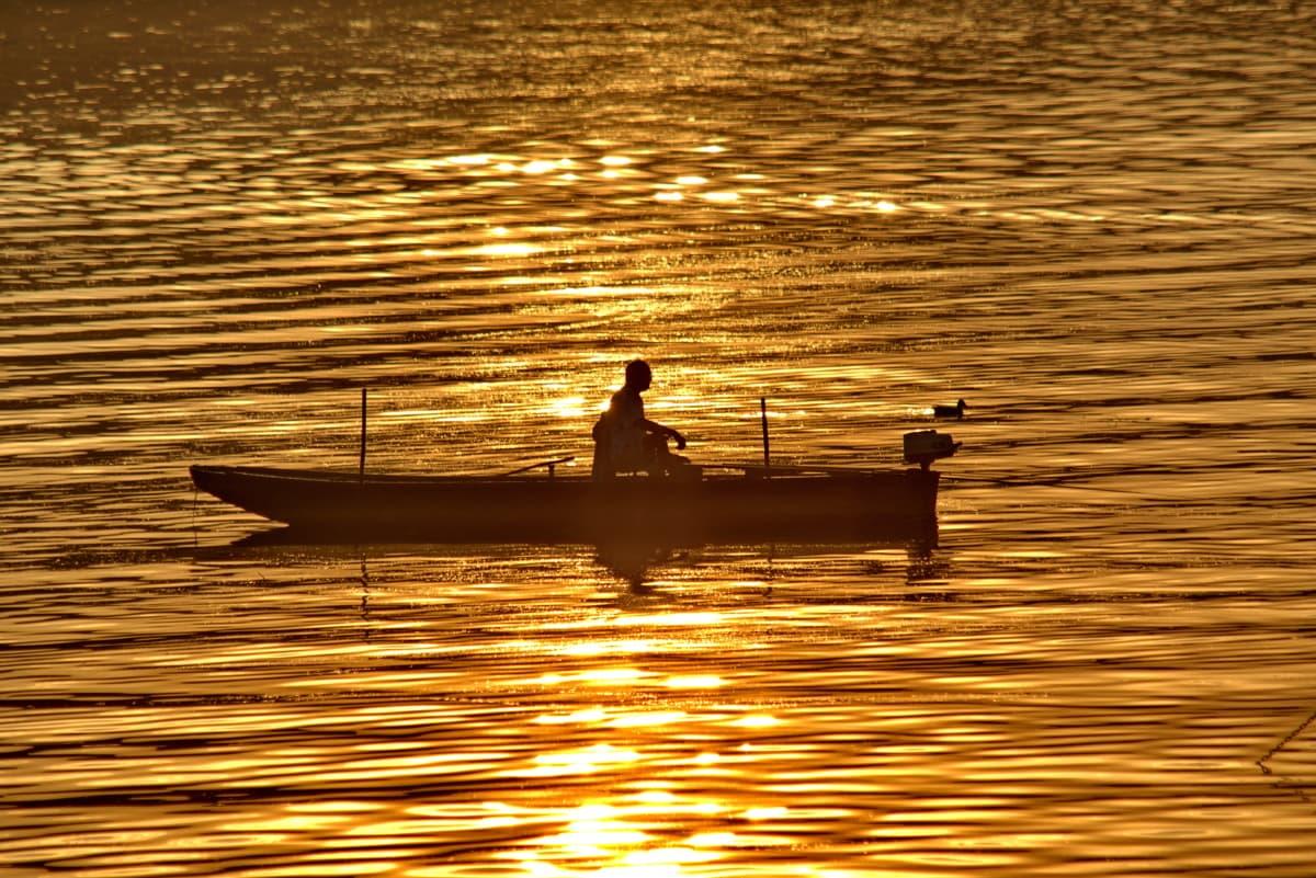 fisherman, golden glow, sunset, dawn, water, boat, sun, reflection, lake, evening