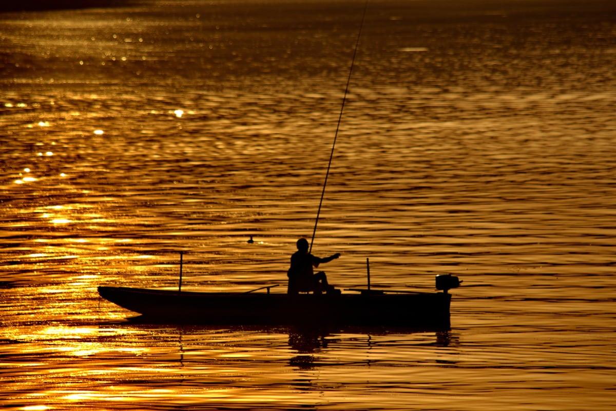pescador, pesca, barco de pesca, brilho dourado, silhueta, raios solares, barco, pôr do sol, água, amanhecer
