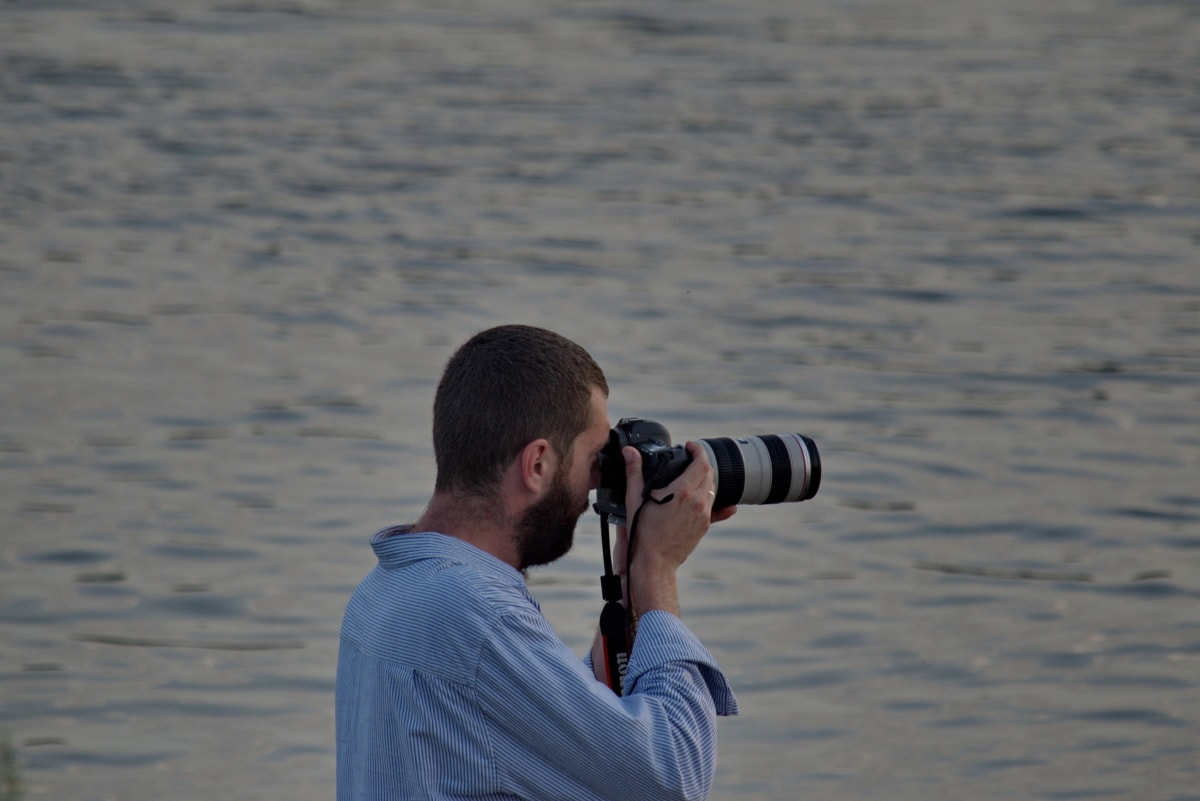 camera, horizon, lens, photographer, water, device, man, outdoors, leisure, nature