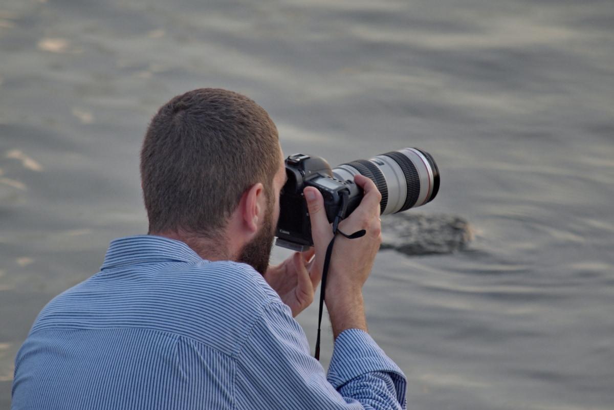 lens, man, fotograaf, fotojournalist, professionele, apparaat, instrument, water, natuur, strand