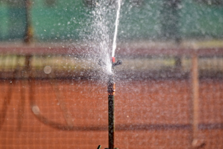 detail, irrigation, spraying, tennis court, water, wet, device, outdoors, spray, summer