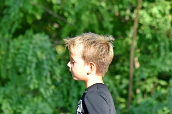 blonde hair, boy, forest, portrait, side view, child, nature, summer, outdoors, cute