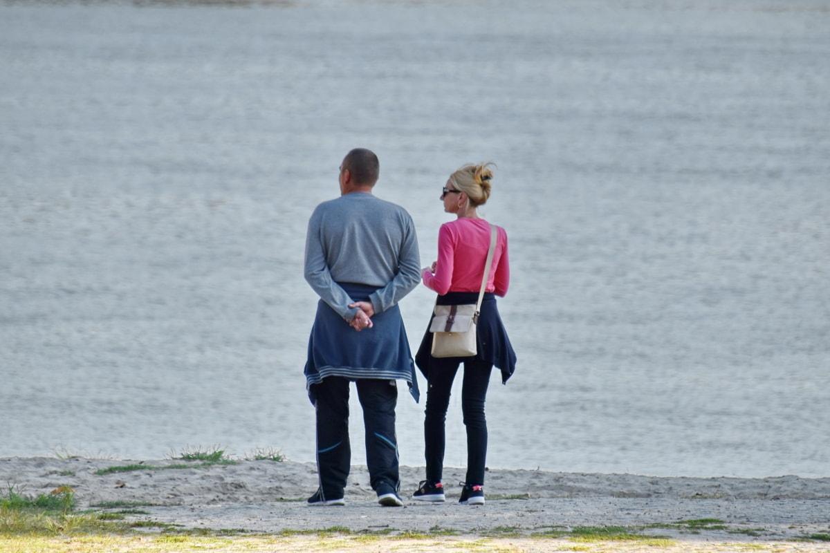 linia brzegowa, konwersji, przyjemność, mężczyzna, relaks, spacery, Kobieta, Plaża, wody, ludzie
