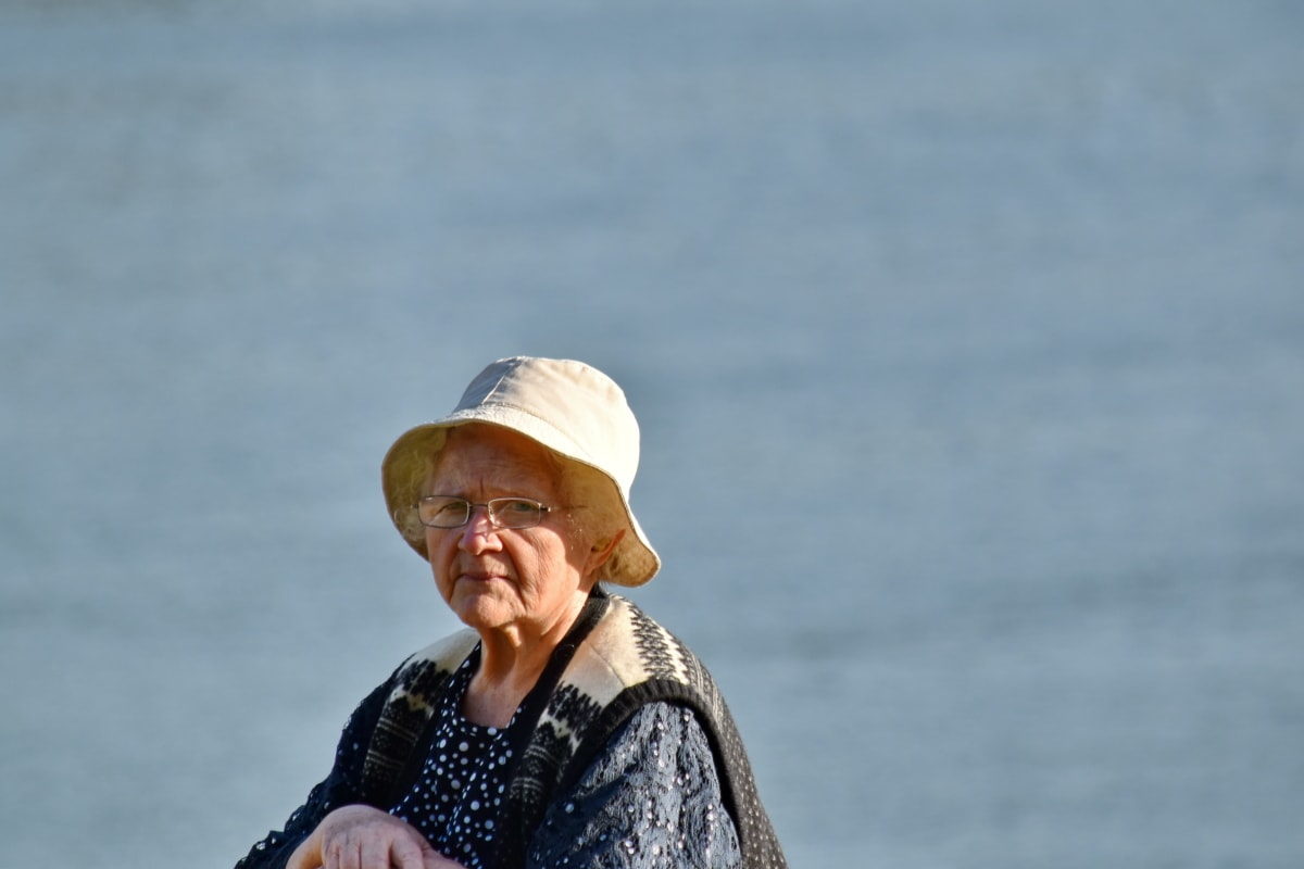 elderly, eyeglasses, face, grandmother, hat, looking, pensioner, portrait, women, water
