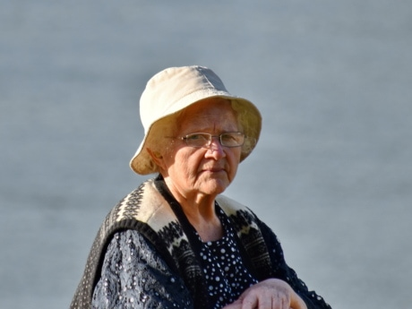 eyeglasses, grandmother, hands, hat, lifestyle, pensioner, photo model, portrait, profile, side view