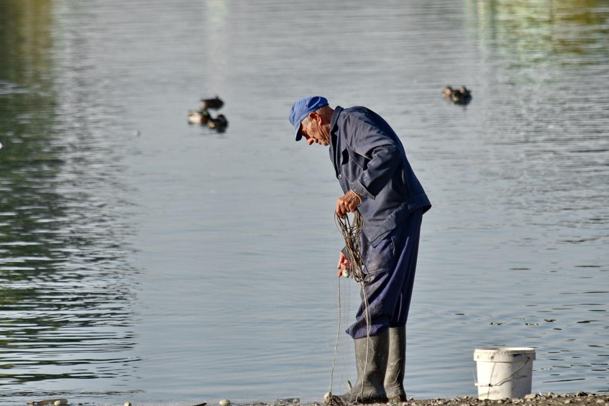 pensioner, portrait, fisherman, water, river, lake, people, man, bird, reflection