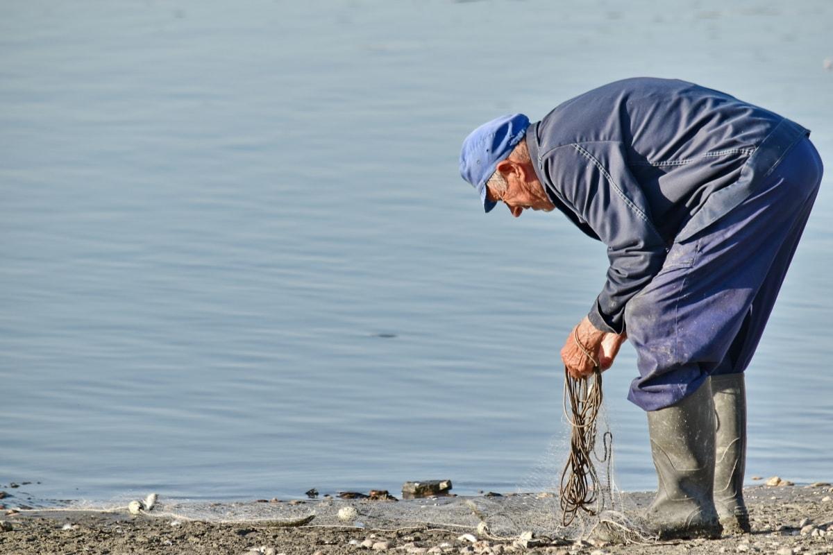 elderly, fisherman, man, netting, water, fish, people, nature, river, sand