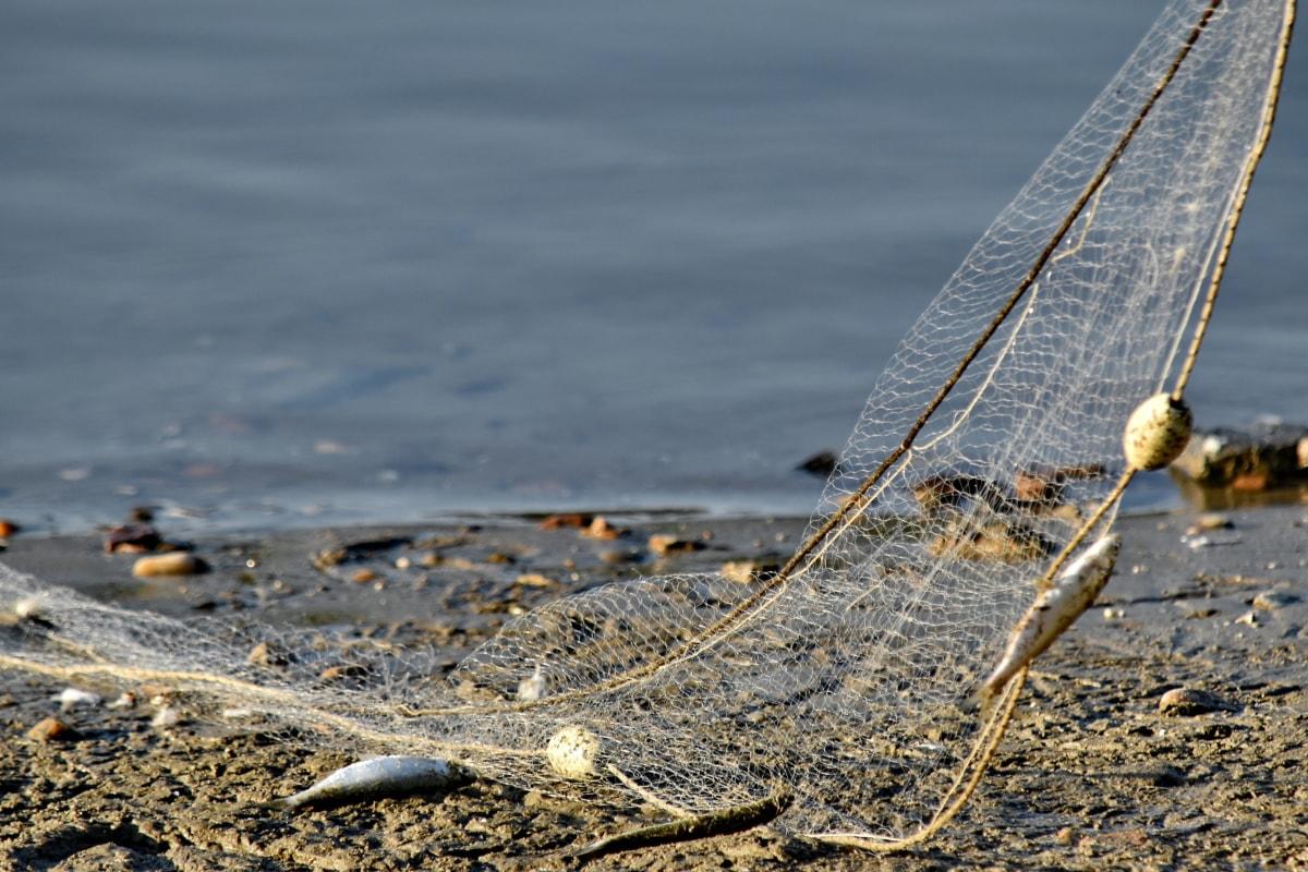 Рыбалка, орудия лова, сеть, пляж, море, вода, песок, морской берег, лодка, берег