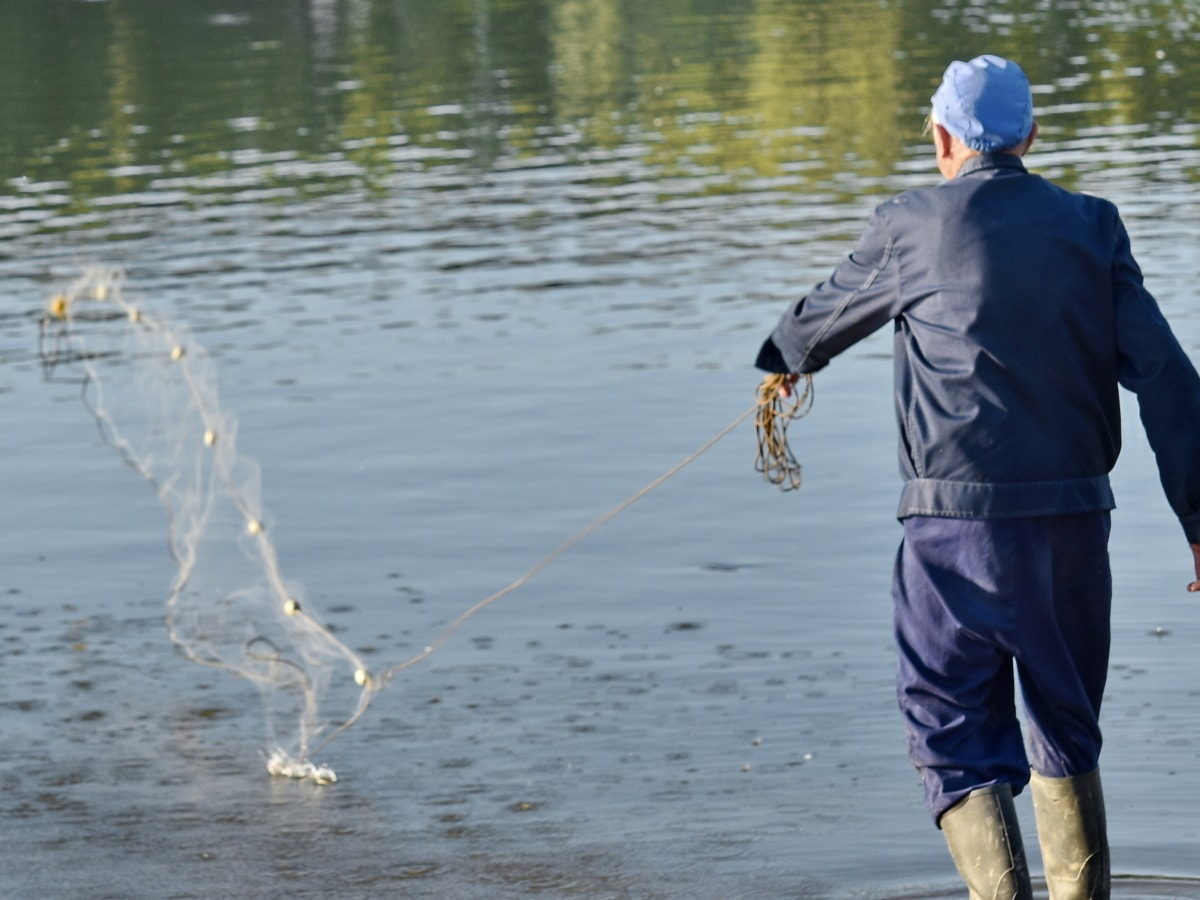 enjoyment, fisherman, fishing gear, fishnet, network, recreation, water, river, people, man