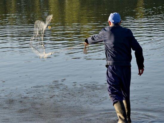 Ausrüstung, Angeln, Fanggeräte, Fischnetz, Mann, professionelle, Wasser, Fluss, Fischer, Reflexion