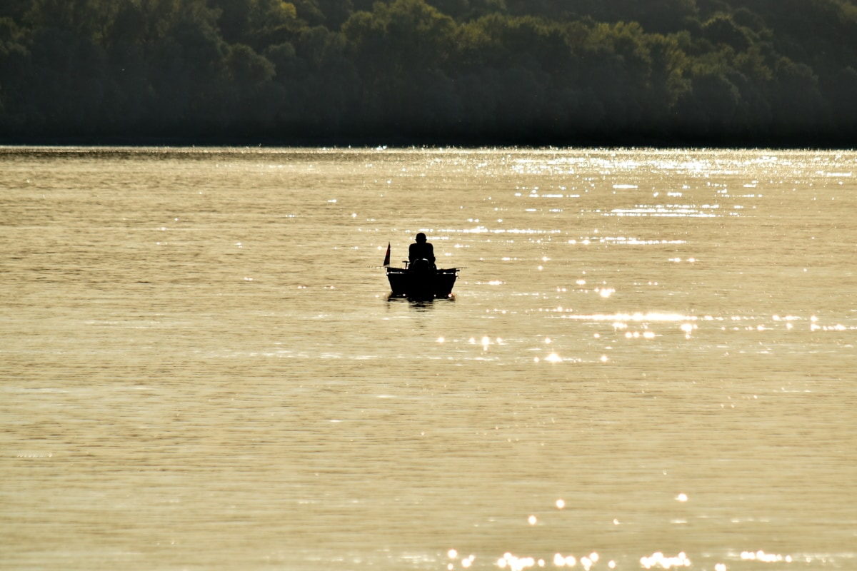 barco, distância, pescador, sombra, praia, água, Lago, Rio, canoa, pôr do sol