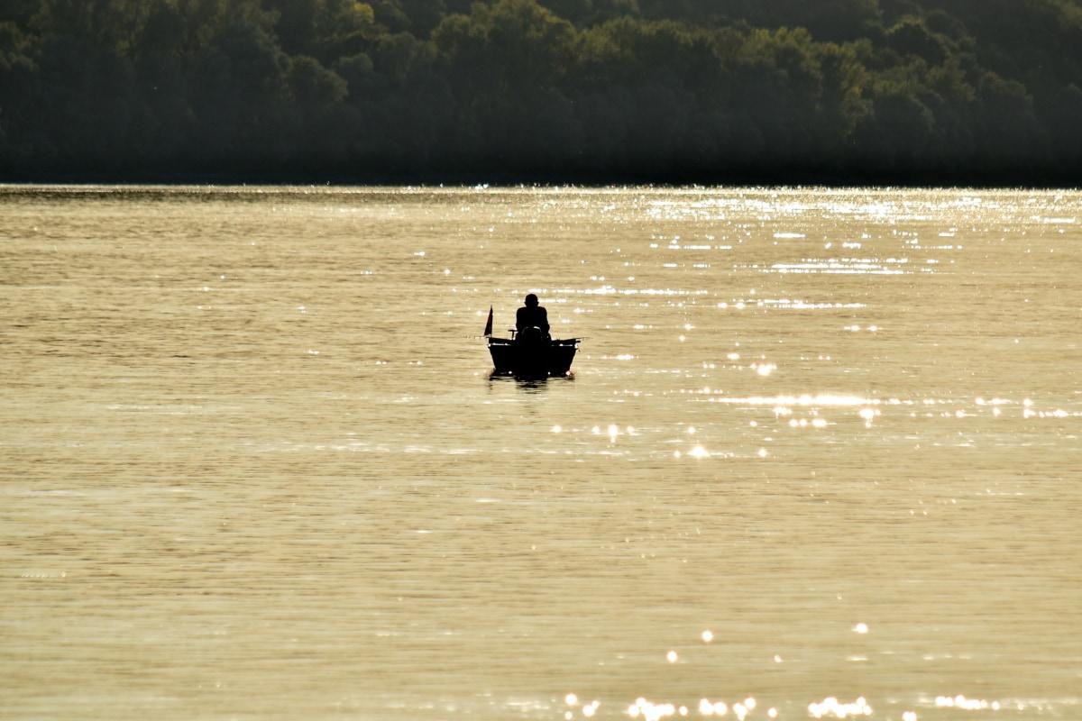 boat, distance, fisherman, shadow, beach, water, lake, river, canoe, sunset