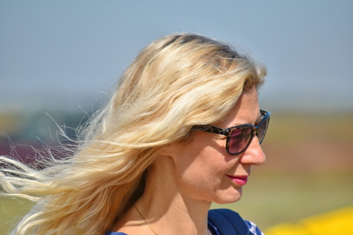 beautiful photo, hairstyle, wind, woman, nature, sunglasses, person, blond, summer, outdoors
