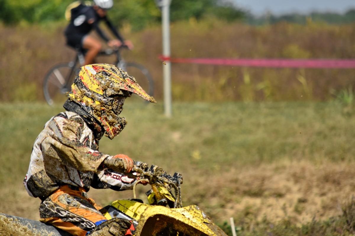 Champion, Meisterschaft, dreckig, Ausrüstung, schnell, Motorrad, Motorradfahrer, Schlamm, Laufbahn, Aktion