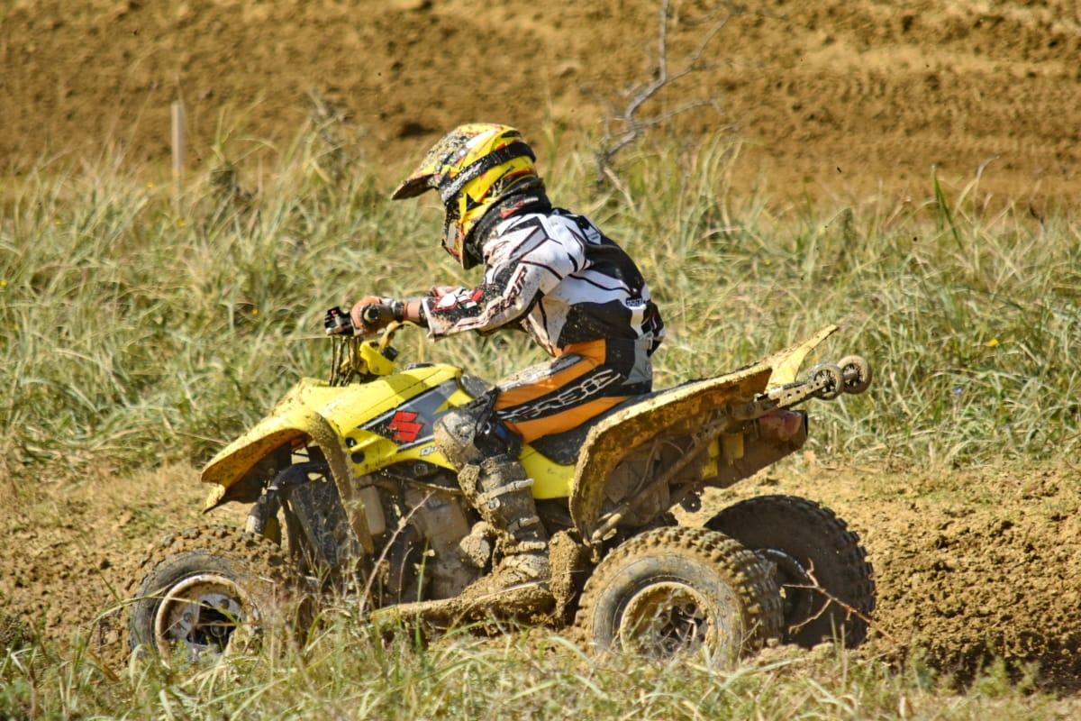 avantura, način života, motocross, Racer, Blato, vozila, kaciga, prašina, motocikl, jahač