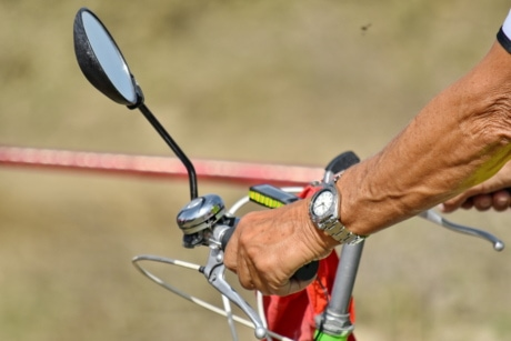 bicycle, mirror, steering wheel, wristwatch, outdoors, recreation, leisure, wheel, man, sport