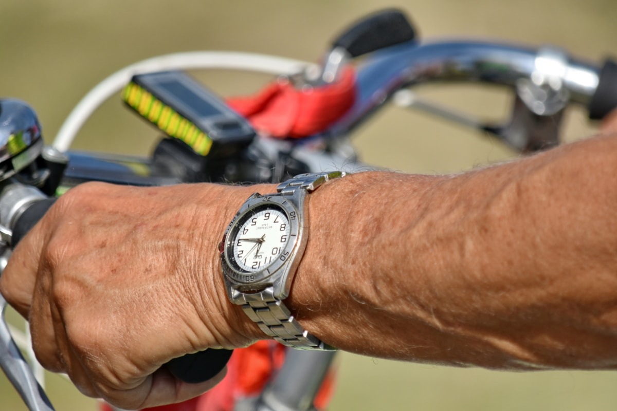 bicycle, cyclist, details, hand, skin, steering wheel, wristwatch, device, man, wheel