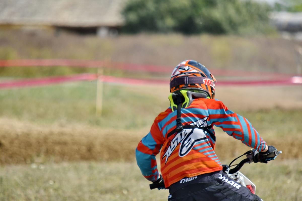 hjälm, motorcykel, tävlings, åtgärd, aktiva, aktivitet, äventyr, idrottsman nen, tillbaka, cykel